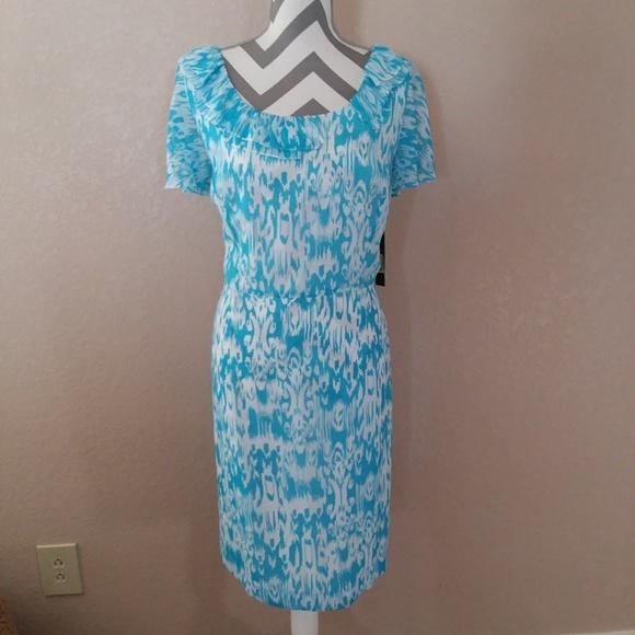 Alex Marie Dresses & Skirts - Alex Marie Blue White Ruffle Midi Dress 16 Plus